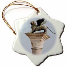 3dRose Winged lion statue, Saint Mark, Piazzetta, Venice. Italy - EU16 PRI0186 - Prisma, Snowflake Ornament, Porcelain, 3-inch