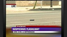 A flashlight in the middle of the road in Phoenix, Arizona.