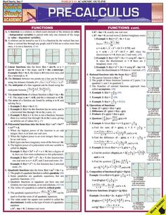 "Read ""Pre-Calculus"" by BarCharts,Inc available from Rakuten Kobo. This laminated guide includes basic principles of calculus, including: functions, coordinate geometry, exponents . Math Help, Fun Math, Learn Math, College Math, College Teaching, Math School, Math Formulas, Homeschool Math, Calculus"