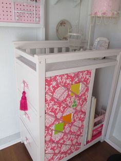 s keep your craft supplies organized with these fun storage ideas, Changing Table Turned Craft Storage Storage Caddy, Fabric Storage, Craft Storage, Storage Ideas, Shabby Chic Furniture, Painted Furniture, Salvaged Furniture, Chest Of Drawers Makeover, Ikea Cabinets