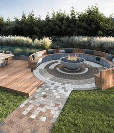 Backyard Landscaping - This patio idea is inspired by our Industria paver. A modern paver available in over 50 scale and c - Backyard Patio Designs, Backyard Landscaping, Modern Fire Pit, Backyard Buildings, Fire Pit Designs, Fire Pit Backyard, Outdoor Living, Outdoor Fire, Outdoor Decor