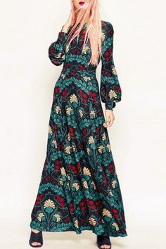 Fashionable Round Neck Long Sleeve Hollow Out Printed Maxi Dress For Women