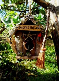 Pagan Handfasting Gift. Hecate Witch Bird House Feeder Rustic Wiccan Bird Box.