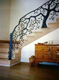 TREE HUGGER Hand Forged Tree Rail, stairway to another dimension.gliding through a Russian forest at twilight Staircase Railing Design, Wrought Iron Stair Railing, Iron Staircase, Spiral Staircase, Garde Corps Design, Architecture Concept Drawings, Banisters, Stairway To Heaven, Inspiration Wall