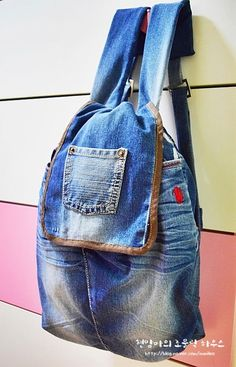 How to sew a pretty nice bag with denim. Step to step tutorial how to make pretty bag from jeans ...
