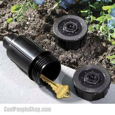$7.14 Sprinkler Head Hide A Key | Cool People Shop Prevent yourself from getting locked out of your home ever again. If you tend to forget your keys then you need the Yard Sprinkler Key Hider. The Sprinkler Key Holder is made from a real sprinkler system head so it looks real and no one will ever suspect your hiding place. Whether you are keeping an extra key handy for yourself or leaving money for someone else, this is the ideal outdoor safe spot. #sprinkler #hidden #key #hiddenkey #secret