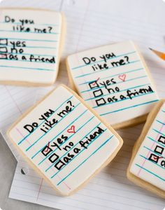"""do you like me"" note cookies...simple and easy to make...perfect for valentine's day!"