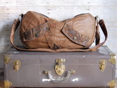 Brown Furrow Reclaimed Leather Bag by hoakonhelga on Etsy, $155.00