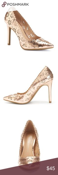 LAUREN CONRAD Rose Gold Flower Cut-Out Pumps LC LAUREN CONRAD rose gold cut-out design floral pumps will Introduce some radiant style to your ensemble!  SHOE FEATURES Cut-out floral design Treaded sole SHOE CONSTRUCTION Manmade upper & lining TPR outsole SHOE DETAILS Pointed toe Slip-on Padded footbed 4-in. heel  CLOSET RULES: Bundle Discounts * No Trades * Smoke free * Reasonable offers through offer button LC Lauren Conrad Shoes Heels