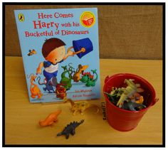 "Harry and the Bucketful of Dinosaurs - from Rachel ("",) Dinosaurs Preschool, Preschool Literacy, Preschool Books, Early Literacy, Book Corner Ideas Preschool, Book Corner Eyfs, Preschool Ideas, Eyfs Activities, Nursery Activities"