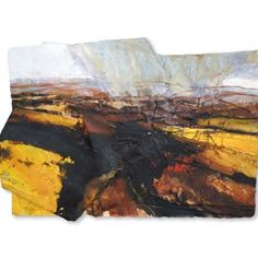 David Tress, Buttercup Fields, Teesdale, Mixed Media on Paper 47 x 70 cm. Landscape Drawings, Abstract Landscape, Landscape Paintings, Abstract Art, Watercolor Sunflower, Contemporary Landscape, Beach Art, Art Techniques, Painting & Drawing