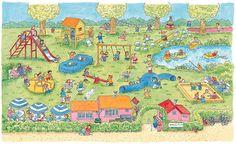 zoekprent: zie je: -de rode glijbaan? -de zandbak? -het grote blauwe springkussen? -de mama's en papa's die onder de blauw-wit gestreepte parasolletjes zitten? -de indianentent? -de bootjes op het water? -de twee kwik-kwakken staan? -de kindjes die aan het schommelen zijn? -het kindje dat aan het vissen is?