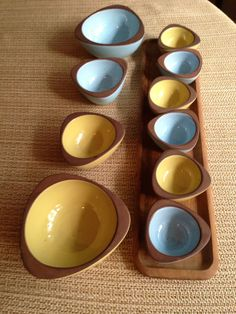 Vintage mid-century Made in Denmark teak serving tray with pottery bowls from West Germany UNIQUE by oodlesofrandomstuff on Etsy