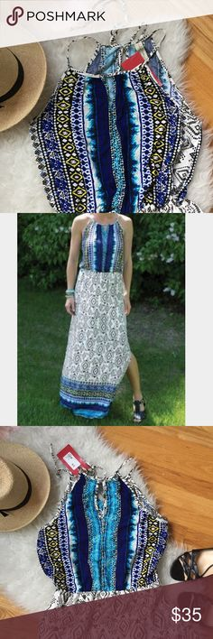 """NWT Evereve Allison Joy Maxi Summer Dress Fun Dress from Evereve Allison Joy Teva Blue Maxi Dress.  Has a key hole in back with s tie closure.  The skirt has s long side slit .  Chest 38"""" length 58"""". Evereve Dresses Maxi"""