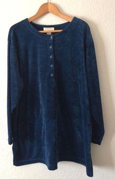 Bechamel Womens Shirt Blouse Top Size 3X Blue Velour Long Sleeved New w/ Tags #Bechamel #Blouse #Casual