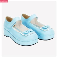 Sky Blue/Red Leather Princess Girl Sweet Lolita Wedge Mary Jane Shoes