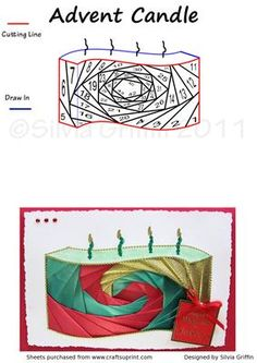 Curved Advent Candle Iris Folding on Craftsuprint - View Now! Iris Paper Folding, Iris Folding Pattern, Blue Christmas, Christmas Cards, Xmas, Paper Cards, Folded Cards, Advent Candles, Joy To The World