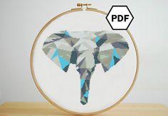 Geometric Electric Blue Elephant Cross Stitch Pattern par hexSTITCHonal sur Etsy https://www.etsy.com/fr/listing/291060659/geometric-electric-blue-elephant-cross