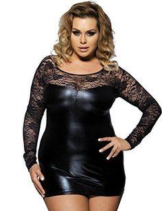 81b5506b6fc RwalkinZ Womens Imitation Leather Bodycon Black Lace Plus Size 6XL Sexy  Lingerie    You can