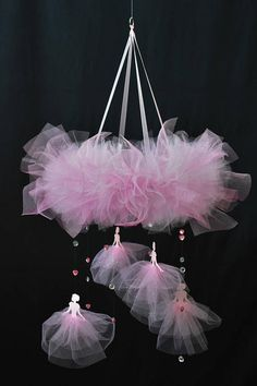 Princess mobile Pink tutu mobile Princess nursery decor