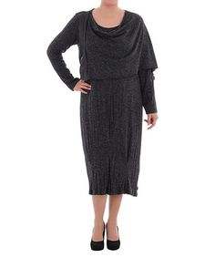 Take a look at this Black Half-Cape Drape Neck Dress - Plus by La Mouette on #zulily today!