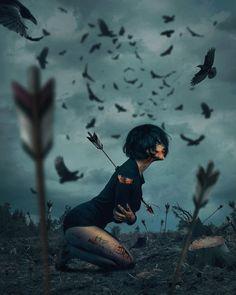 Created by combining different photos by Hüseyin Şahin - . - Created by combining different photos by Hüseyin Şahin – # Huseyin - Dark Fantasy Art, Fantasy Artwork, Art Sketches, Art Drawings, Drawing Art, Art Kawaii, Arte Obscura, Sad Art, Digital Art Girl