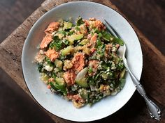 OH Geez.  So many faves all in one bowl!  Spinach, Zucchini, Feta, and Walnut Quinoa with Salmon