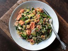 Spinach, Zucchini, Feta, and Walnut Quinoa with Salmon recipe