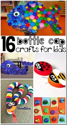 16 Bottle Lid Craft for Kids - so many fun, clever kids crafts for kids of all ages using recycled materials bottle cap crafts for kids 16 Bottle Lid Crafts for Kids Crafts For Kids To Make, Fun Crafts For Kids, Art For Kids, Recycled Crafts For Kids, Recycle Crafts, Crafts From Recycled Materials, Recycled Art Projects, Easy Crafts, Recycled Toys