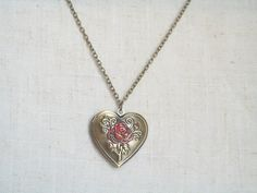 Aromatherapy Locket Red Rose Locket Brass Heart by JypsyJewels