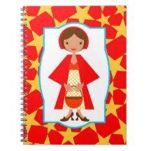 Modern Red Riding Hood illustration Spiral Notebook #children, #zazzle, #noboringwhite, #magic