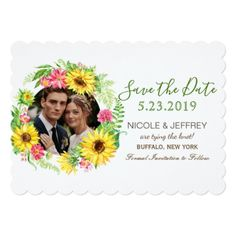 Watercolor Yellow Sunflower Wedding Save the Date Card - spring wedding diy marriage customize personalize couple idea individuel