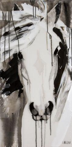 J'aime beaucoup cette toile de Brigitte Lafleur parce que j'aime beaucoup les lignes qui sont comme avec des dégrader de noir et de blanc. J'adore les chevaux c'est ma passion c'est pourquoi j'ai connue cette artiste. Le blanc et le noir sont mes teintes préférer parce que j'aime les choses sobres. Quand je regarde cette oeuvre je ressens de colère parce que ces toiles sont trop cher pour que je m'en achète une.