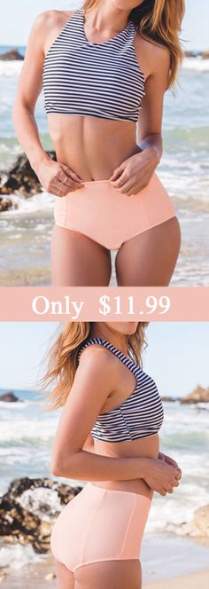 Time to get high & mighty. You deserve it at $16.99! The bikini sets features striped tank top and high-waisted bottom. Give this summer the last hit! What are you waiting for? Check this at Cupshe.com