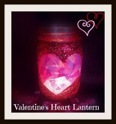 Valentine's Day Crafts: Valentine's Heart Glitter Lanterns http://crunchyfrugalista.com/?p=17568