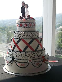 U of U wedding cake, wedding cakes, college cakes, university cakes, red white and black cakes, 5 tier cakes, specialty cakes, http://tiered-expressions.com