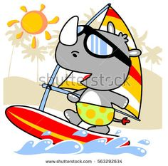 rhino playing surf in the coast vector cartoon illustration