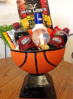 "Basketball ""basket"" I made for my boyfriend with stuff he likes in it!"