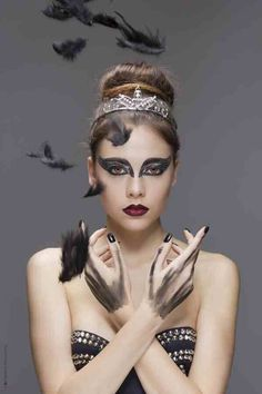 Carnival black swan inspired makeup