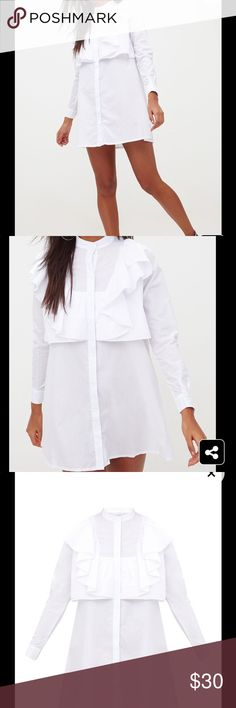27b2ad331b Flora White Frill Front Shirt Dress Very chic