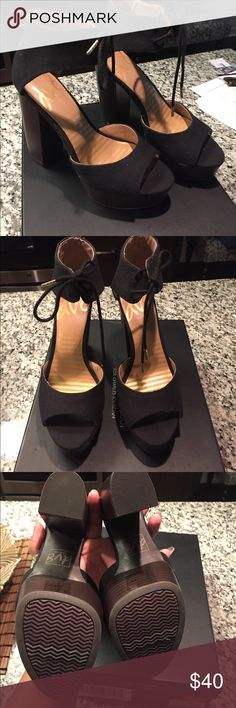 """Dolce Vita Chunky Heels Brand new without tags! 5"""" heel, 1 1/2"""" platform! Black lace up and open toe area, brown platform. Very comfy! Size 7 Dolce Vita Shoes Heels"""