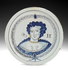 A fine Brislington delftware portrait charger of Queen Mary, circa Delft, Defender Of The Faith, Imperfection Is Beauty, William And Mary, Queen Of England, White Dishes, Blue And White China, Queen Mary, 17th Century