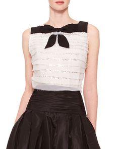 Sleeveless Tiered Bow Top, Ivory/Black by Carolina Herrera at Neiman Marcus.