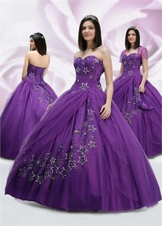 Ball Gown Sweetheart Neckline with Appliques Floor Length Organza Satin Quinceanera Dress QD1007