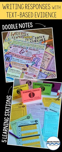 Writing Responses with Text-Based Evidence - Doodle Notes & 5 Learning Stations 8th Grade Ela, 6th Grade Reading, 4th Grade Writing, Middle School Reading, Writing Classes, Writing Lessons, Teaching Writing, Student Teaching, Academic Writing