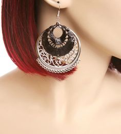 Round Drop Earrings with Black Round Fan Over lay Price $5.00