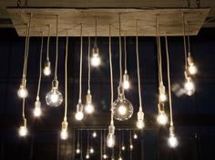 Reclaimed Barn Wood Chandelier with varying Edison di urbanchandy