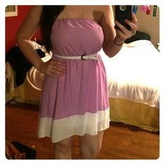 Light purple strapless dress I'm selling this cute Charlotte Russe purple strapless dress that was supposed to be a bridesmaid dress but was never actually worn. Still has the tags. It's literally sat in my closet for 2-3 years. Belt also come with it. It's a high low dress! Very comfy and cute Charlotte Russe Dresses Strapless