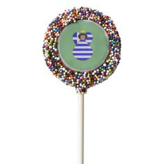 Greek Angel Flag Black Hair Chocolate Covered Oreo on a STICK. WOW! How cool does it get! Great idea for your next party! To see more stuff with this design visit http://www.zazzle.com/greekflaggear?rf=238656250999501047&tc=PINfood81814