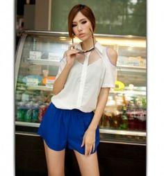 Fabulous Lapel Collar Single Breasted Hollow Sleeves Blouse White Single Breasted, Blouses, Rompers, Fancy, Sleeves, Dresses, Fashion, Vestidos, Moda